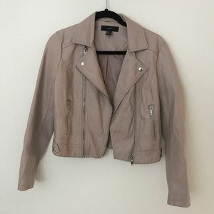 F21 Light Taupe Pink Leather cropped moto jacket